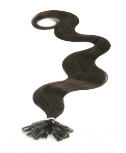 nail tip body wave pre bonded hair extensions Darkest Brown