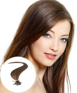 stick tip pre bonded hair extensions medium brown