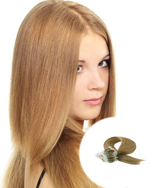 Micro Loop Hair Extensions Light Golden Brown Hair 100