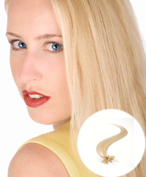 pre bonded hair extensions light Blonde