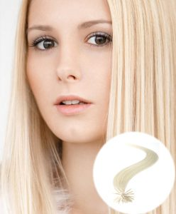 stick tip pre bonded hair extensions Bleach Blonde