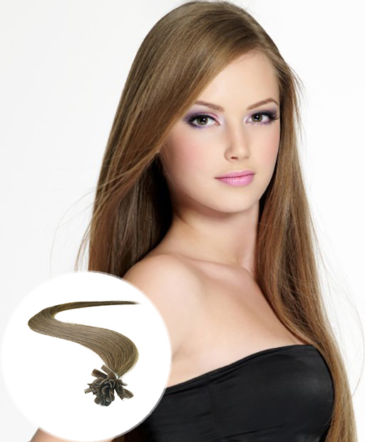 pre bonded hair extensions Light Brown