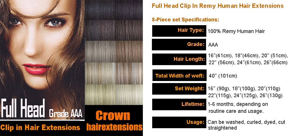 Clip In Full Head Remy Human Hair Extensions Next Day Delivery Ebay